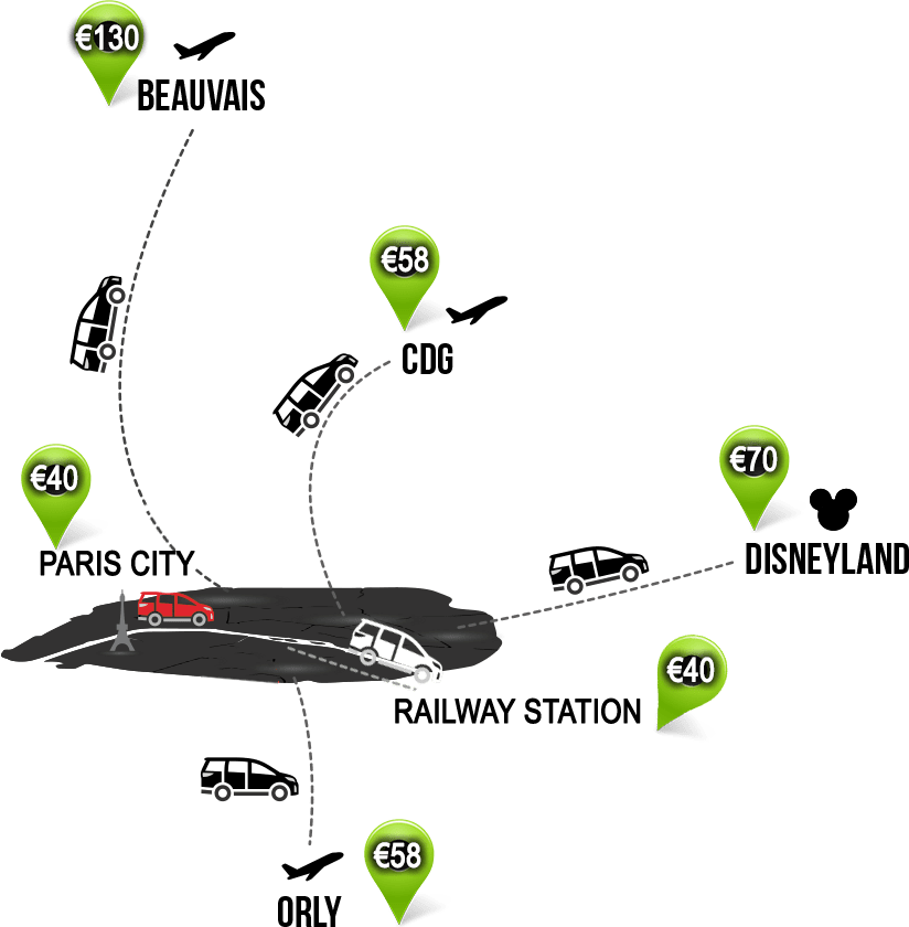 Pairs airport transfer price map destinations